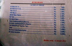 Daftar Menu Minuman Bima kroda